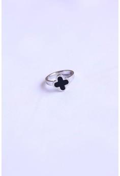 Art by Design high quality stainless steel black enamel flower ring
