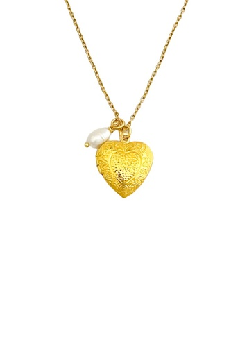 Trinkets for Keeps gold Ornate Heart Locket Stainless Steel Necklace 6811EAC4DEAFA9GS_1