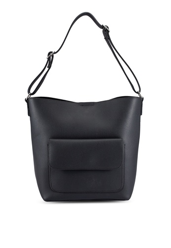 ZALORA black Medium Size Shoulder Bag With Front Pocket Detail 3C99BZZ997CD80GS_1