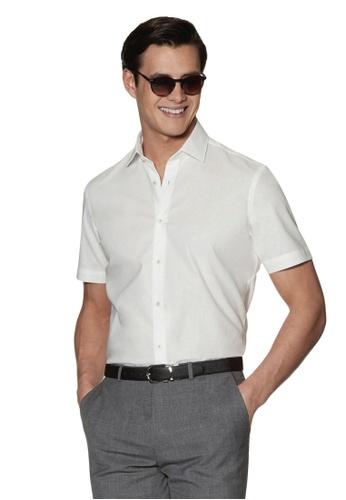 T.M. LEWIN white T.M.Lewin Short Sleeve Cotton Linen Slim Fit White Shirt 8354EAA12942E3GS_1