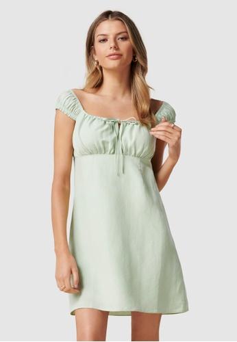 Forever New green Imogen Linen Mini Sun Dress BEA01AAEE55767GS_1