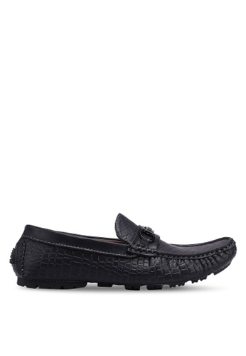 Rocklander black Metal Hardware Croc Texture Loafers B2403SH5A2274CGS_1