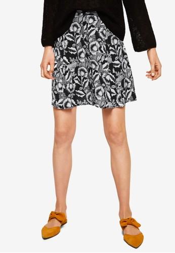 Mango blue Printed Button Skirt 9BC38AA9FA9904GS_1