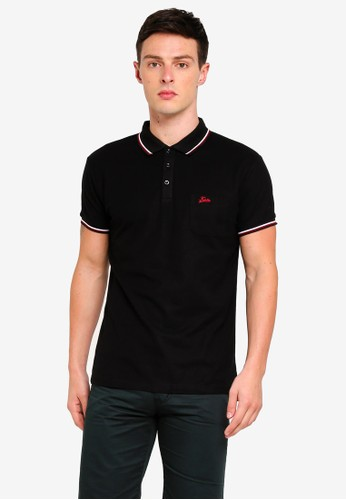 Fidelio black Collar Lining Basic Polo Shirt 7C1F3AAA967BE5GS_1