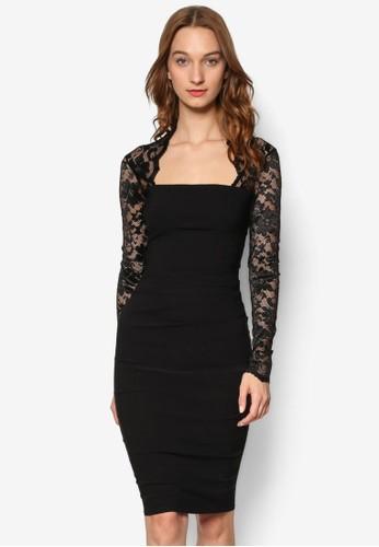 Lace Sleeved Midi Desprit hk分店ress, 服飾, 洋裝