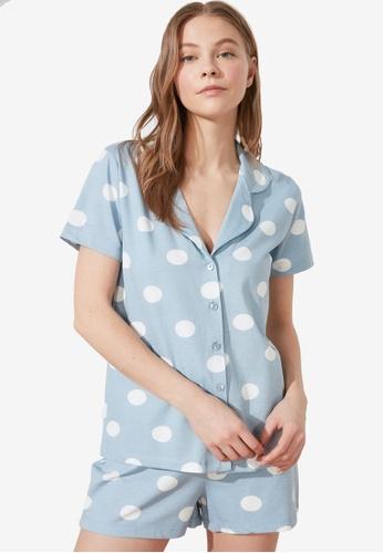 Trendyol 藍色 2-Piece 印花睡衣組 E068AAA304BB97GS_1
