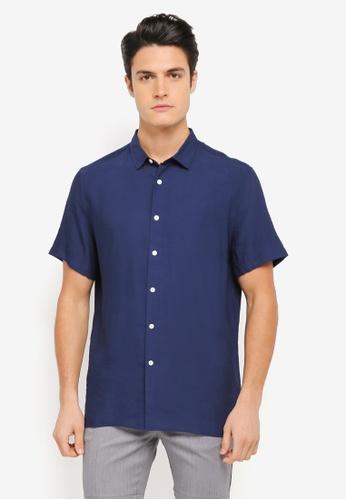 ZALORA navy Relaxed Fit Lightweight Short Sleeve Shirt 67290AAE44AC51GS_1