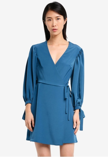 TOPSHOP blue Ovoid Sleeve Wrap Mini Dress TO412AA0SZ6FMY_1
