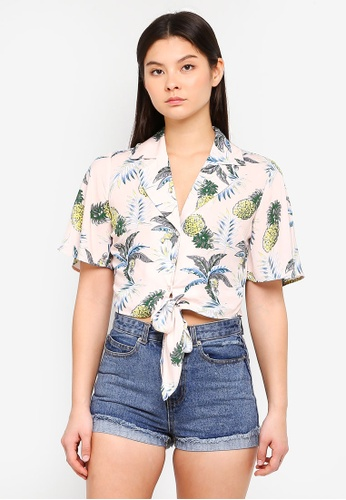 Something Borrowed pink Tropical Resort Shirt 4A6A0AA9D818DBGS_1