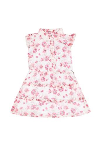 Guess pink Chiffon All Over Print Dress B8047KA532C087GS_1