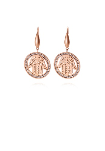 Glamorousky white Fashion Personality Plated Rose Gold Geometric Circle Devil Hand 316L Stainless Steel Earrings with Cubic Zirconia BC0EDAC21F872FGS_1
