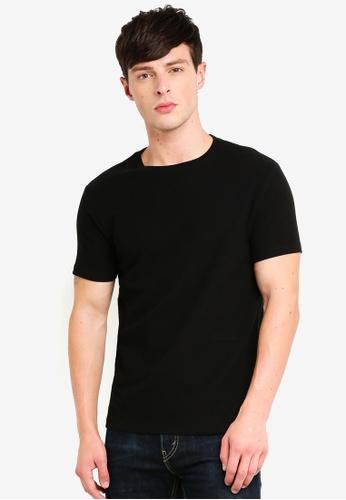 Burton Menswear London 黑色 Black Waffle Slim Fit Textured T-Shirt 7062FAA83E47D8GS_1