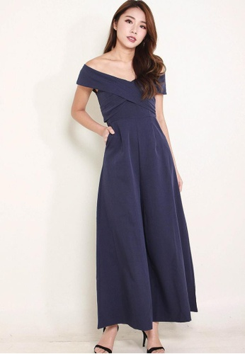 Leline Style blue Hilia OffShoulder Romper LE802AA0FUDHSG_1