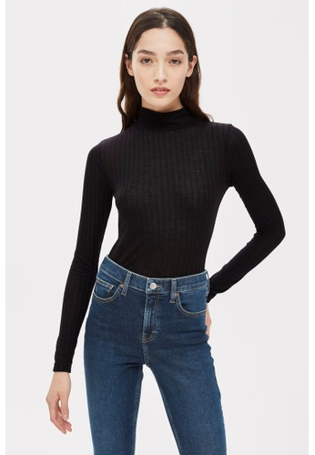 TOPSHOP black Long Sleeve Funnel Top F75A9AA7F492F7GS_1
