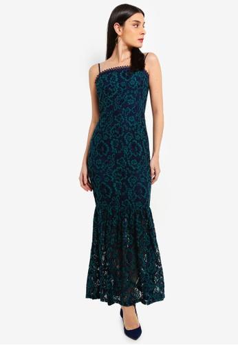 Preen & Proper navy Long Fluted Hem Lace Dress 0B601AA56DCEB7GS_1