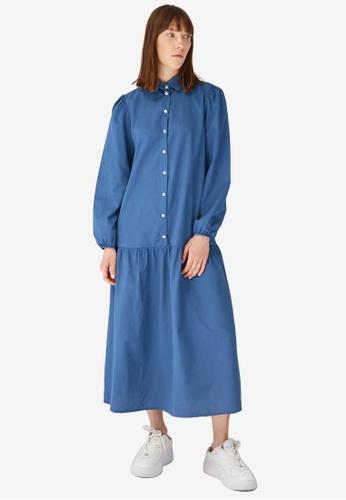 Trendyol 藍色 Poplin Dress 3AC36AAE5600FCGS_1