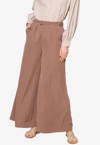 ZALIA BASICS brown Wide Leg Trousers 66D99AA25E9E30GS_1