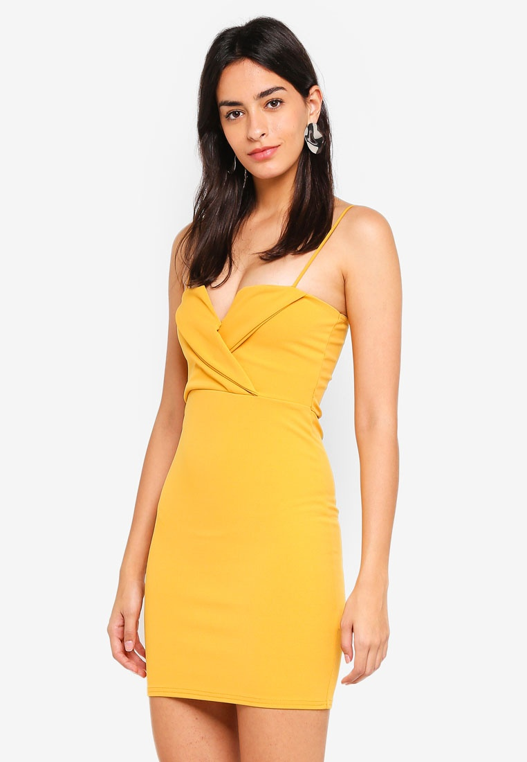 Dress Over Strappy Fold MISSGUIDED Mustard Bodycon wFUzqzx