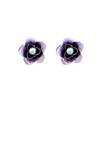 Glamorousky grey Purple Flower Earrings with Grey Fashion Pearl 82201ACD7A894DGS_1