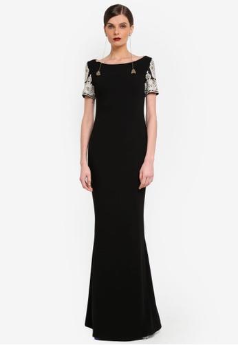 Rizalman for Zalora black and gold Chakra Short Sleeve Dress RI909AA0SEZOMY_1