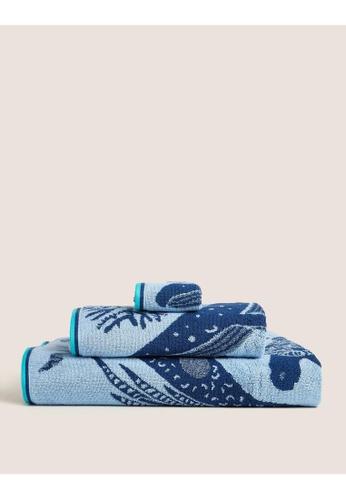 MARKS & SPENCER blue M&S Pure Cotton Under The Sea Bath Towel 23A24HL24948D8GS_1