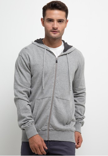Noir Sur Blanc grey Mens Hoodie Jacket With Zipper B4957AA53E5503GS_1