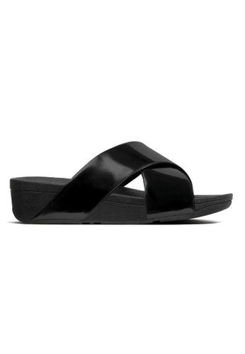 eb803ea0480b Fitflop black Fitflop Lulu Mirror Cross Slide Sandals (Black Mirror)  34B48SH1A188BBGS 1