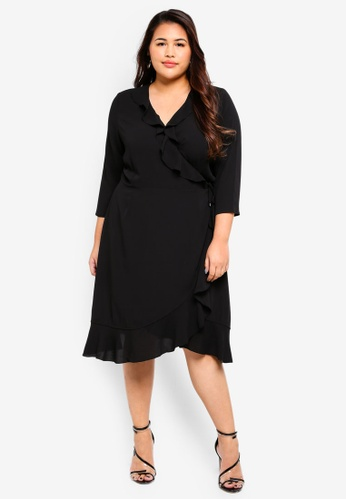 Only CARMAKOMA black Plus Size Wrap Short Dress AD00BAA553A6F9GS_1