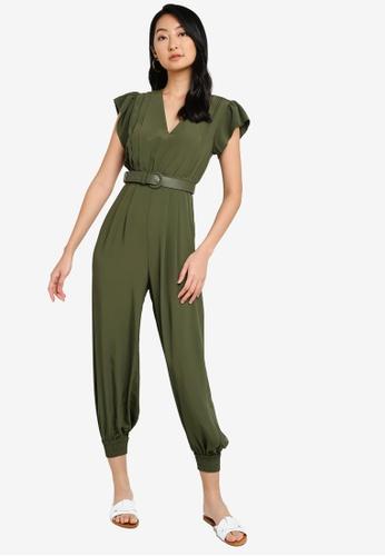 ZALORA BASICS green Cuff Hem Belted Jumpsuit 258BDAA4CCFA53GS_1