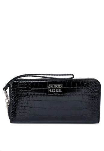 GUESS black Katey Sling Large Zip Around Wallet 23934AC1998A20GS_1