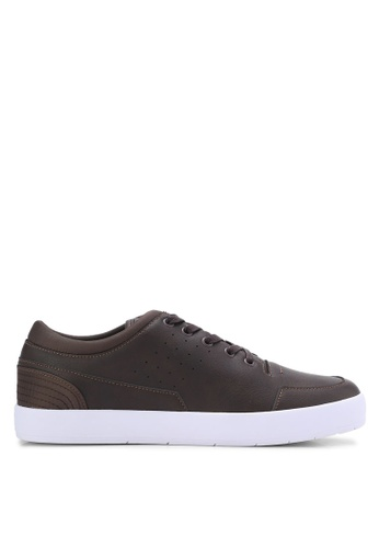ZALORA brown Essential Faux Leather Sneakers 4D72CSHE3727E3GS_1