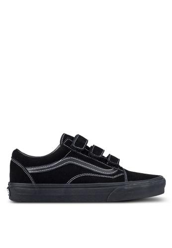 VANS black Old Skool V White Stitch Sneakers VA142SH0SBQAMY_1