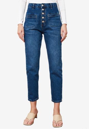 Trendyol blue Front Button High Waist Jeans 0B95BAA38727B5GS_1