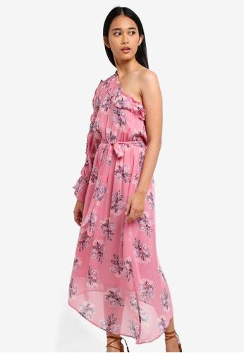 ab6baa8f9908 TOPSHOP pink One Shoulder Ruffle Midi Skater Dress E42A3AA2CCFFEAGS 1