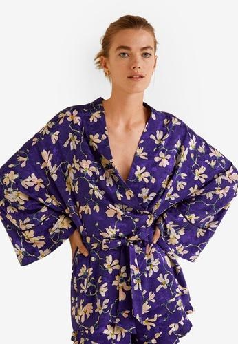 Mango purple Floral Print Kimono 3149BAAE034BB7GS_1