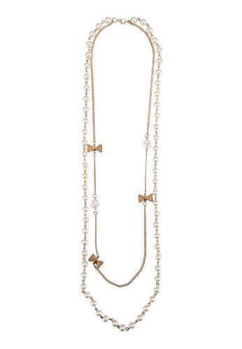蝴蝶結飾雙層珍珠長項鍊, esprit門市飾品配件, 項鍊