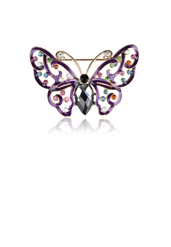 Glamorousky silver Fashion and Elegant Plated Gold Hollow Butterfly Brooch with Purple Cubic Zirconia DD0E8ACD7285FFGS_1
