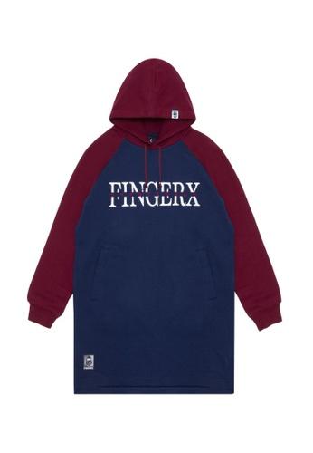 Fingercroxx navy Contrast logo print hoodie CFC41AAAA7B82AGS_1
