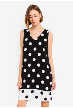 fd22dd01765 Wallis black Black Polka Dot Print Shift Dress 6231BAA4CF8444GS 1