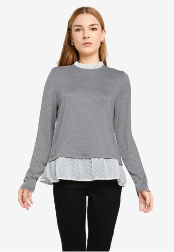 JACQUELINE DE YONG grey Tonsy Long Sleeve Frill Top 99095AABF6427BGS_1