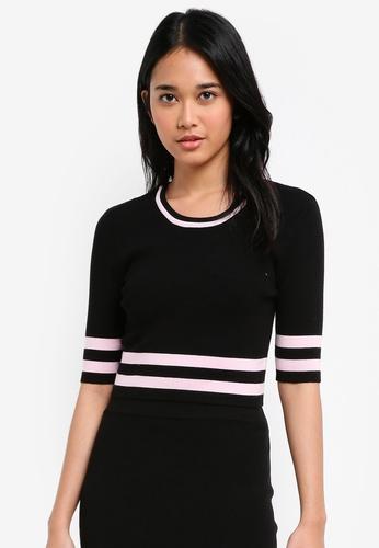 Something Borrowed black Knitted Contrast Stripe Crop Top 03252AA4EA94EBGS_1