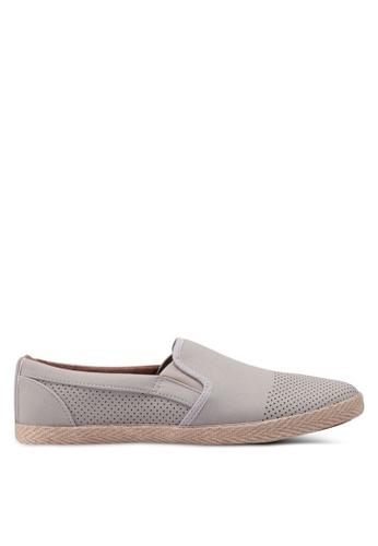 Burton Menswear London grey Light Grey Suede Look Sport Plimsolls Slip Ons 73695SH838BB68GS_1
