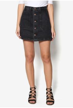 Buttoned Down Denim Mini Skirt