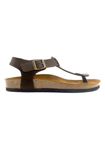 SoleSimple 褐色 Oxford - 深棕褐色 百搭/搭帶 全皮軟木涼鞋 B23C1SH61E57EFGS_1