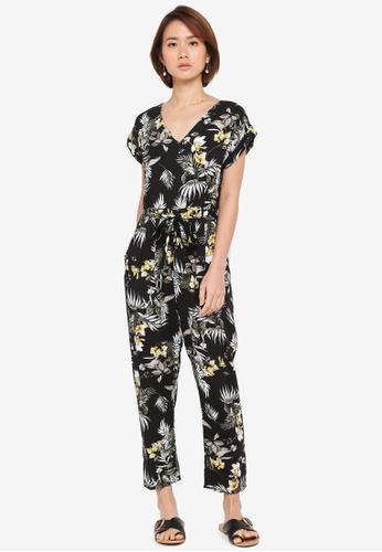 Dorothy Perkins black Petite Safari Floral Jumpsuit 2BFB9AAE3FE86EGS_1