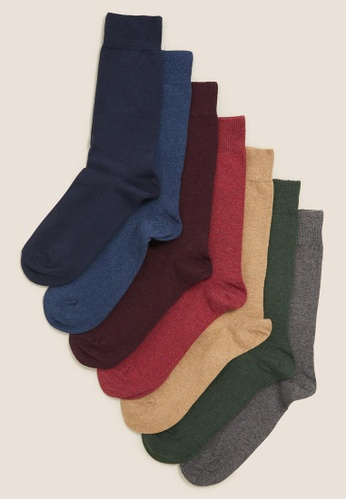 MARKS & SPENCER multi M&S 7Pk Cotton Rich Cool & Fresh Socks E6E66AAF6AEE81GS_1