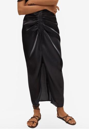 Mango black Draped Satin Skirt 3EBF7AA8FE8D3EGS_1