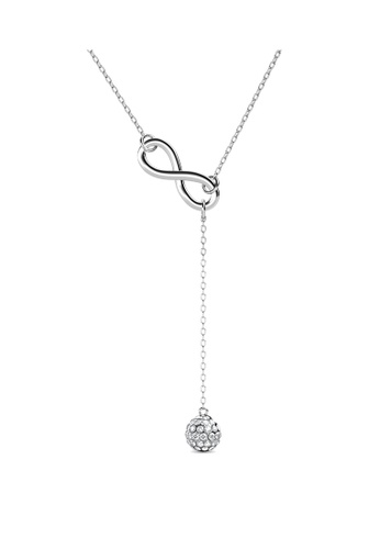 Her Jewellery silver Infinity Eight Drop Pendant (White Gold) - Made with Premium grade crystals from Austria 8D6CFAC8E1FFF6GS_1