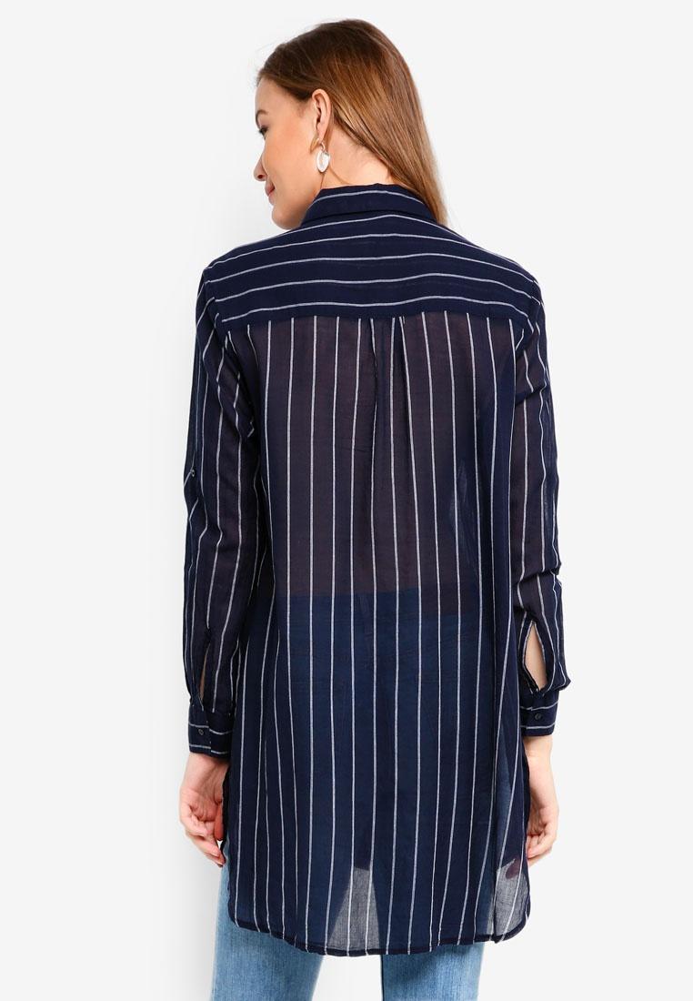 Stripe Cotton Fashion Longline V Shirt On Moonlight pqwg4Cqa8