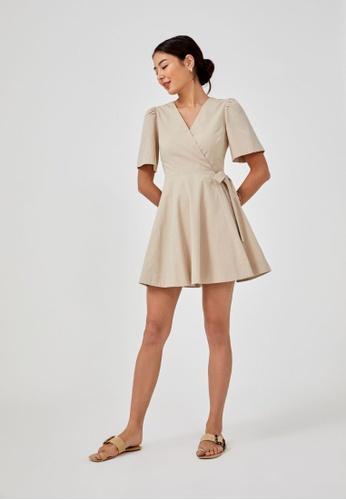 Love, Bonito brown Malvina Textured Wrap Dress E9B79AAA978049GS_1